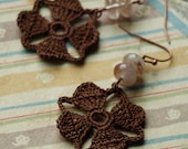 Nora Crochet Earrings- Brown