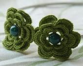 Monroe Crochet Flower Headband- Green
