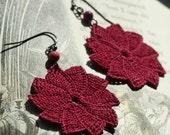 Navy Pier Crochet Earrings- Raspberry