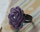 Hyde Park Crochet Flower Ring- Antique Violet
