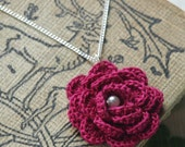 Hyde Park Crochet Flower Necklace- Raspberry