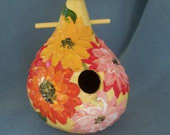 Hand Painted Bird House Textured Garden Flowers Gourd