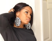 Large Circle mudcloth fabric earrings black and white- Last Pair