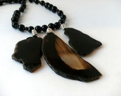 Triple Agate and black onyx Statement necklace