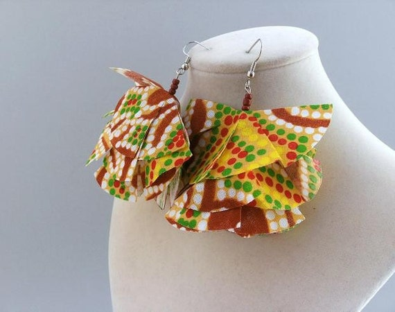 Aboriginal print fabric earrings, Tribute to Australia