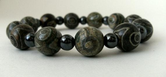 Grey Jasper beaded bracelet with hematite beads