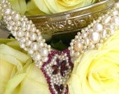 MAHARANI NECKLACE - Statement Pearl Necklace with Exquisite Rhodolithe Garnets