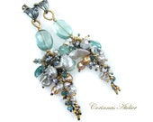 Pearl Earrings with FLuorides, London Blue Topaz, teal green Quartz- ZARA