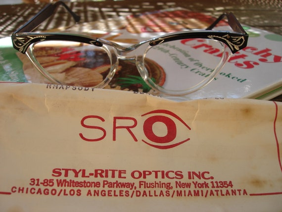 Vintage 50s Cat Eye Glasses NOS Deadstock  Detailed Frames Stella Ranae Vintage
