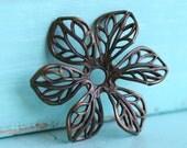 2pc 3D Filigree Flower, Hand Finished Antiqued Patina (FRAF)