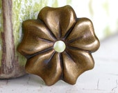 10pc 12mm Flower Petal Bead Cap, Hand Finished Antique Brass Patina (C12F)