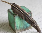 XL Feather Charm, Hand Finished Antiqued Patina (WXLF)