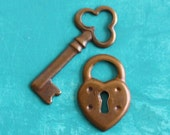 10pc Key to My Heart Charms, Hand Finished Antiqued Patina (WHK3)