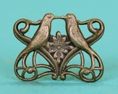 6pc Kissing Lovebirds Connector, Hand Finished Antique Brass Patina (CKLA)
