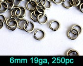 250pc 6mm 19ga Jump Ring, Nickel Free Antique Silver Plate (6A5A)