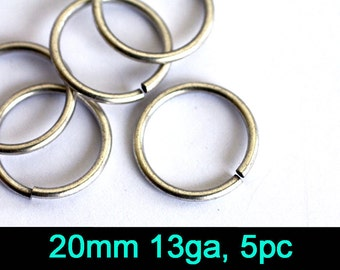 5pc 20mm 13ga Jump Ring, Nickel Free Antique Silver Plate (20AA)