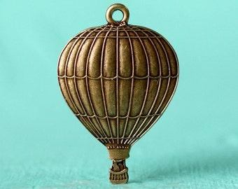 2pc Small Hot Air Balloon Charm, Oxidized Brass (CHAB-BX)