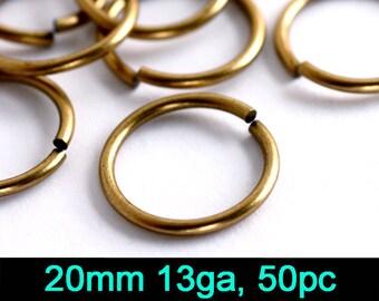50pc 20mm 13 gauge Jump Ring, Oxidized Brass (20EX)