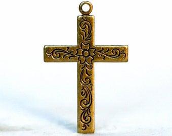 4pc Etched Floral Cross, Oxidized Brass (ECX1-BX)