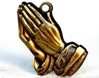 2pc Praying Hands Charm, Oxidized Brass (P4P1-BX)