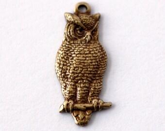 2pc Owl Charm, Oxidized Brass (OWLX)