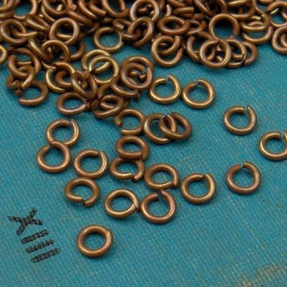 100pcs 3.5mm 21ga 2mm ID Brass Jump Rings, Hand Finished Antiqued Patina (R3TB)
