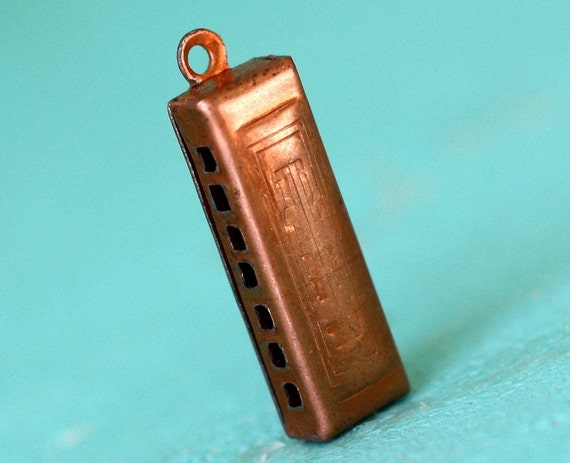 6pc Tiny Harmonica Charm, Copper Coated Steel (WCH1)