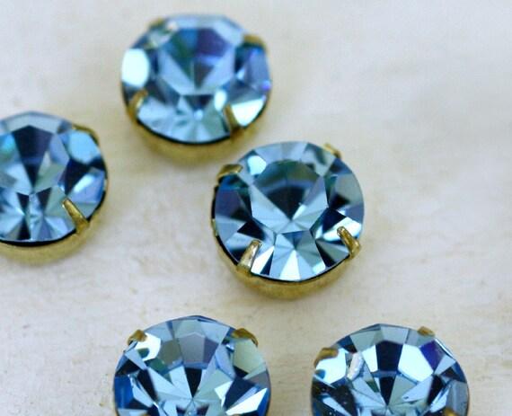 2pc 11mm Aqua Swarovski Crystal in Setting (S11A)