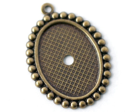 6pc 13x18mm Ball-Edge Cabochon Setting, Oxidized Brass (V13X)