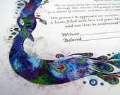 Elegant Peacock Ketubah - Jewish Marrigage Contract