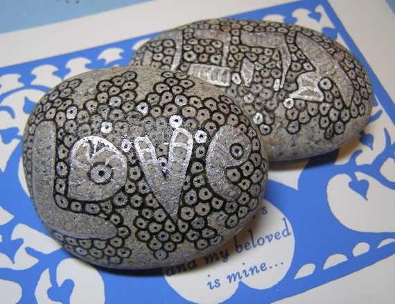 LOVE AHAVA Doodled Rock Duo - Perfect Present for a Jewish Wedding
