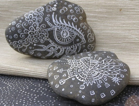 Doodled White Lace Rock Duo - Perfect Hostess or House Warming Present