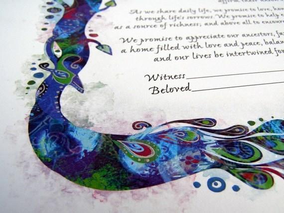 Elegant Peacock Ketubah - Jewish Marrigage Contract