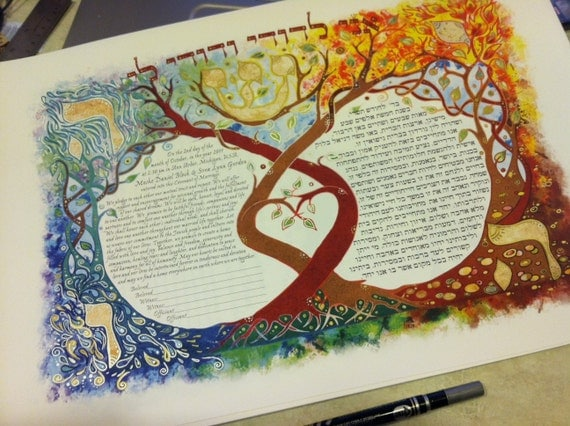 Four Elements- Air, Water, Earth and Fire, Custom Ketubah for anibur