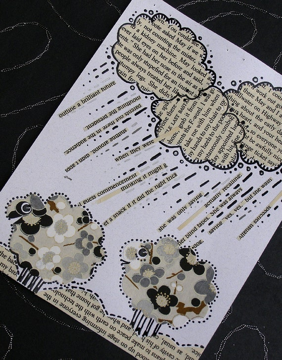 Sheep Dream of Raining Words Collage