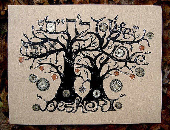 Soulmate (Beshert) Tree Hand Decorated Print