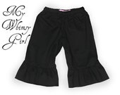 My Whimsy Girl Vintage Inspired Natural Cotton Black Ruffle Capris or Pants