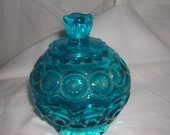 l.e.smith blue glass 'moon and stars' candy dish