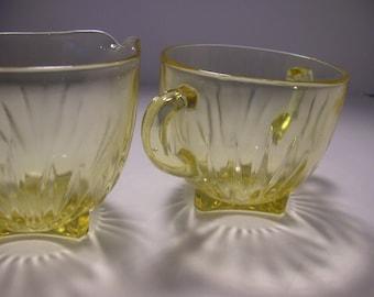 federal glass star amber sugar and creamer