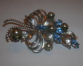 mid century rhinestone and pearl  pin