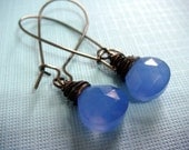 E a r r i n g s - Blue Sky - Wire wrapped heart briolette