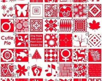 Mix of Designs in Red Digital Collage Sheet 1x1 Inch Squares 63 Different Images Scrapbooking