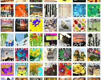 Altered  Art Inchies No.8 Digital Collage Sheet 1x1 Inch Squares 63 Different Images Scrapbooking