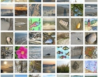 Seaside Inchies Digital Collage Sheet 1x1 Inch Squares 63 Different Images Scrapbooking