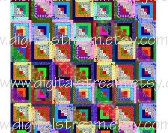 Mini Quilt No.1 Log Cabin Digital Collage Sheet Miniature Dollhouse Quilt jpg to Download and Print 7x8 Inches
