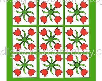 Mini Quilt No.4 Tulips Digital Collage Sheet Miniature Dollhouse Quilt jpg to Download and Print  7x8 Inches