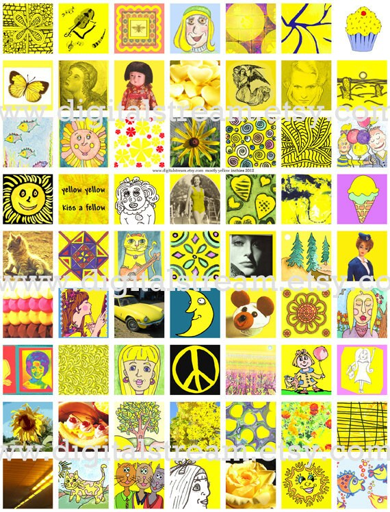 Mostly Yellow Inchies Digital Collage Sheet 1x1 Inch Squares 63 Different Images