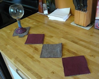 Organic Cotton Hemp Coasters-Set of 4