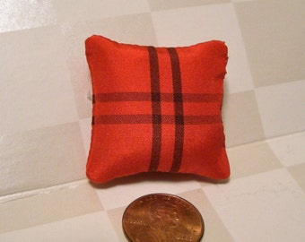 "1"" Scale Red and Black Silk Dollhouse Pillow"