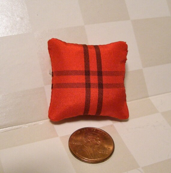 Red and Black Silk Dollhouse Pillow